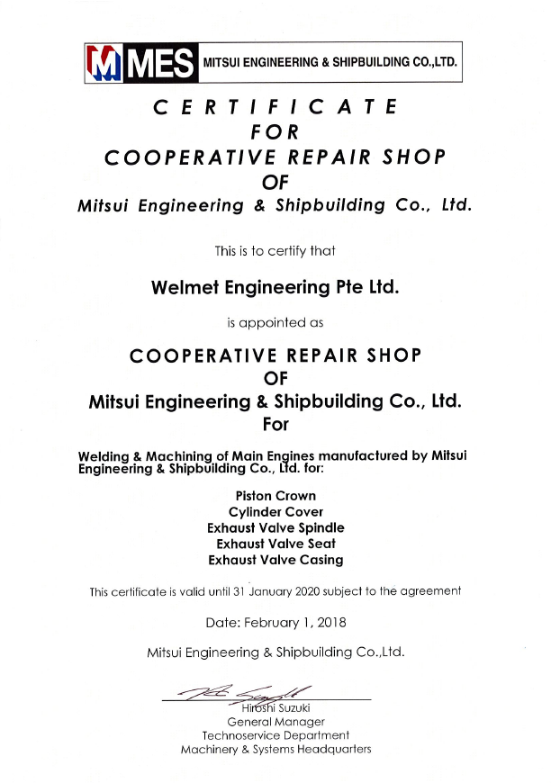 Mitsui Engineering & Shipbuilding - Cooperative Repair Shop (Welmet)