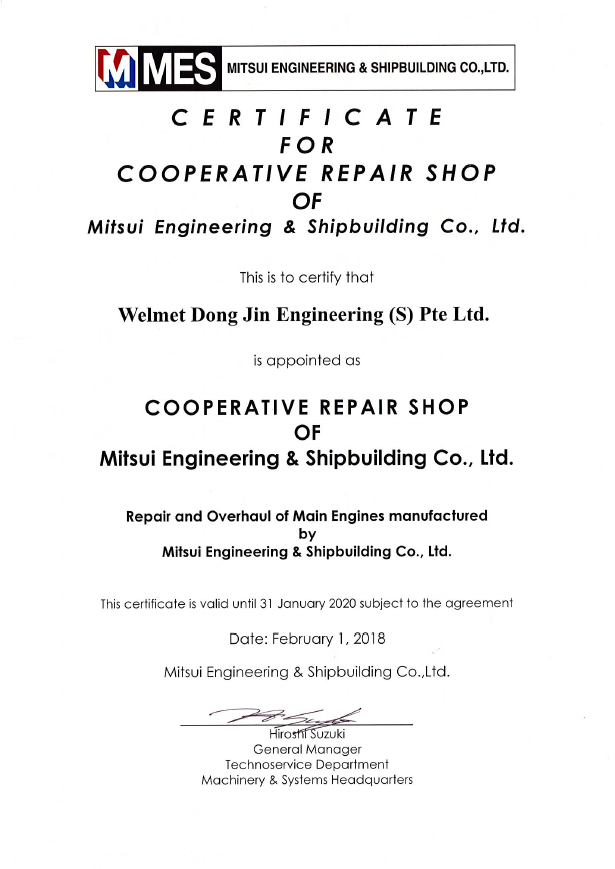 Mitsui Engineering & Shipbuilding - Cooperative Repair Shop (Welmet Dongjin)