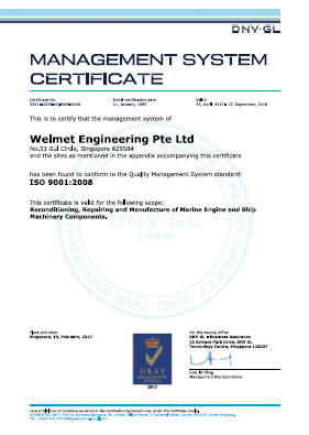 Welmet Engineering Pte Ltd & Welmet Dongjin Engineering (S) Pte Ltd - ISO 9001 2008