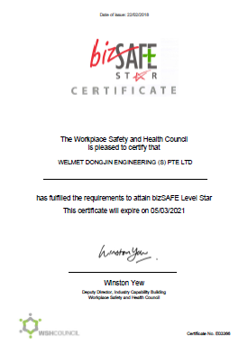 Welmet Dongjin Engineering (S) Pte Ltd - bizSAFE Level Star