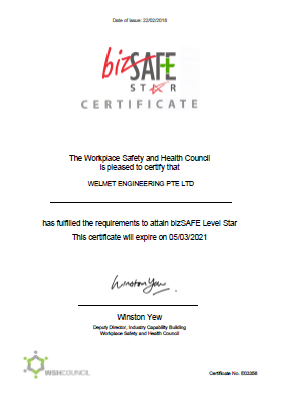 Welmet Engineering Pte Ltd - bizSAFE Level Star